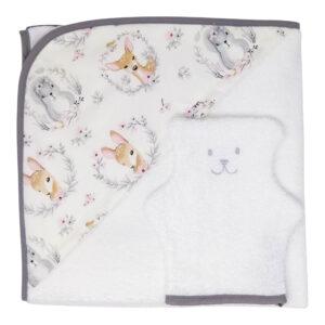 cape de bain bébé et gant toilette ourson délicat