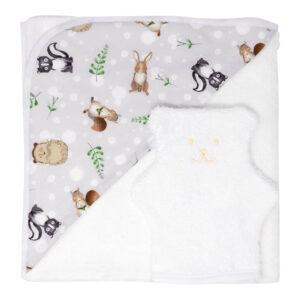 Serviette de bain bébé et gant de toilette en forme d'ourson