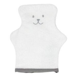 gant de toilette en forme d'ourson gris et blanc