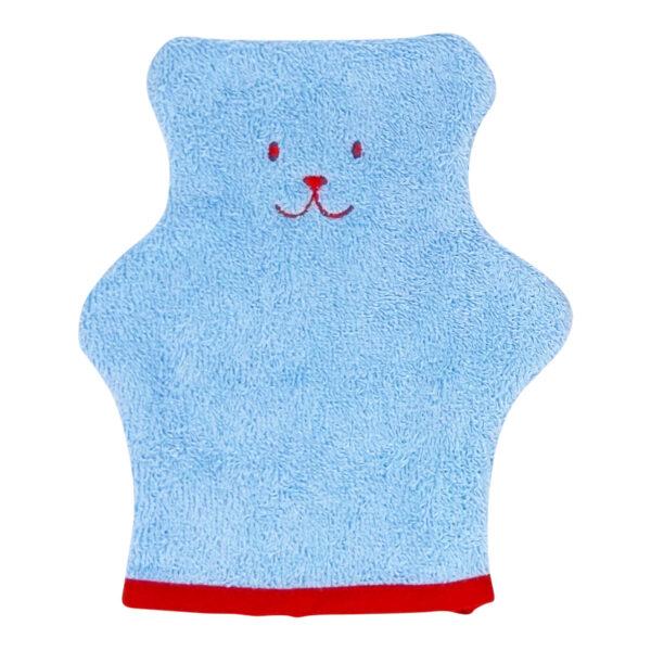 gant de toilette bleu en forme d'ourson